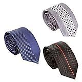 BMC Mens 3pc Mixed Design Split Pattern Skinny Tie Fashion Accessories - Set 1 - Spotted