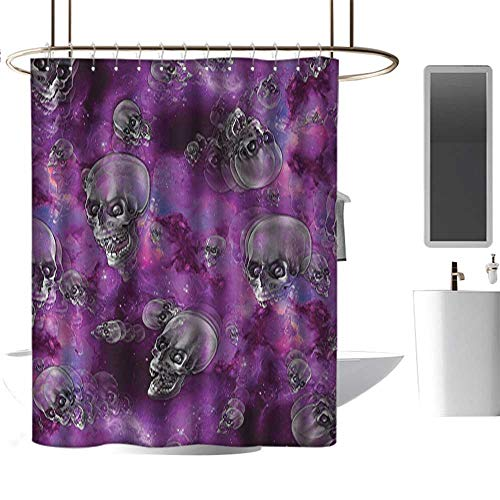 RenteriaDecor Shower Curtains Under 10 Skull,Horror Movie Thirller Themed Flying Skull Heads Halloween in Outer Space Image,Black and Purple,W108 x L72,Shower Curtain for -
