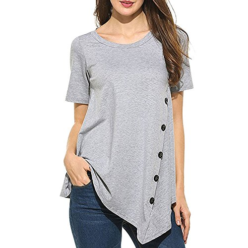 Clearance Womens Tops ,KIKOY Summer Vintage Cotton Linen Long Sleeve Shirt Casual Loose Blouse (L, Gray #)