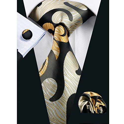 Hi-Tie Designer Novelty Silk Tie Hanky Cufflinks Set Woven