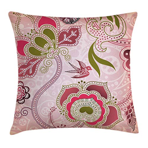 Olive Swirls - Ambesonne Ethnic Throw Pillow Cushion Cover, Floral with Scroll Swirl Leaf Lines Boho Artwork, Decorative Square Accent Pillow Case, 16