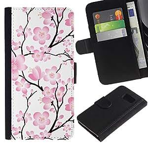 Samsung Galaxy S6 / SM-G920 , la tarjeta de Crédito Slots PU Funda de cuero Monedero caso cubierta de piel ( Wallpaper Pink Flowers Floral Tree Branch)