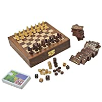 Wooden Board Game for Adults Three in One Chess Backgammon and Domino Playing Cards 8 Inches