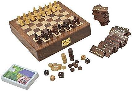 Juego De Mesa De Madera Para Los Adultos Tres En Uno Backgammon Ajedrez Y Cartas De Juego De Dominó, Tamaño: 20.3 Cm: Amazon.es: Juguetes y juegos