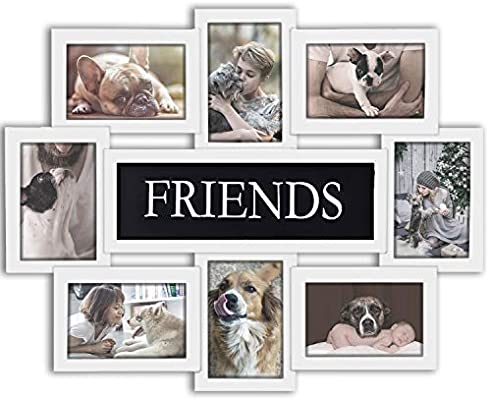 Hello Laura Gallery Style Holiday Birthday Thanksgiving Black Edge Photo Frame Reunion 8 Opening 17 x 22 Wall Hanging Photo Frame Family Theme 6 x 4 Photo Sockets x 8