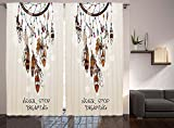Native American Southwest Decor Curtains Never Stop Dreaming Feathers and Colorful Beads for Good luck Living Room Bedroom Curtain 2 Panels Set Beige and Brown