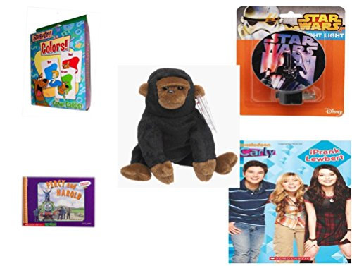 Children's Gift Bundle - Ages 3-5 [5 Piece] - Scooby-Doo. Colors Game Cards - Star Wars Darth Vader Night Light - TY Beanie Baby - Congo the Gorilla - Thomas & Friends: Percy Runs Away / Percy and H (Doo Night Scooby Lights)