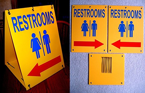 1Set Likely Unique Restrooms Symbol Arrow Signs Yard Declare Sandwich Board Plastic Mens Toilette This Way Bathroom Sign Whichever Door Women Office Toilet Unisex Restroom Size 18