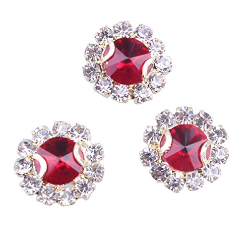 ZIJING 14pcs Gold Castting Hot Red Round Facets Beads Czech Crystal Rhinestones Elements With 4 Holes for Sew On (Red (Double Hole Slider)