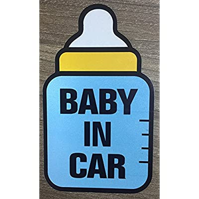 Brightt Set of x2 Baby On Board Safety Stickers for All Cars Trucks SUV (Work for All Type Bumpers/Window) Premium Quality (Light/Night time Reflective) Safety Caution Vinyl Decal Sign (Design 6): Automotive