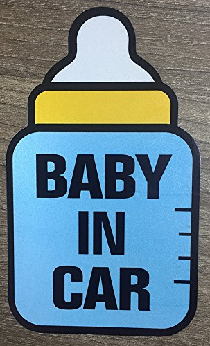 (Brightt Set of x2 Baby On Board Safety Stickers for All Cars Trucks SUV (Work for All Type Bumpers/Window) Premium Quality (Light/Night time Reflective) Safety Caution Vinyl Decal Sign (Design 6))