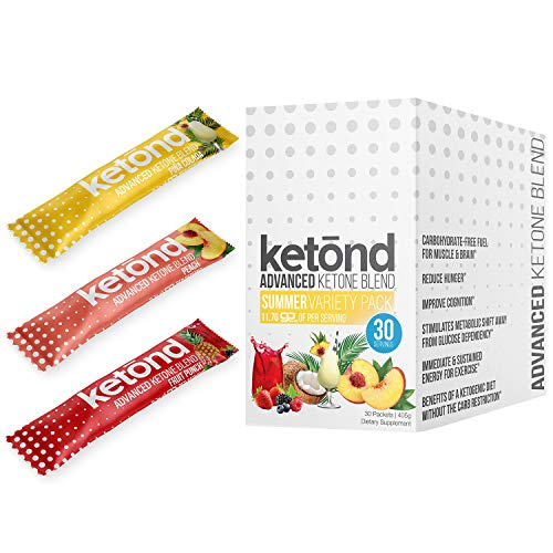 Ketond Advanced Ketone Supplement - 30 'On The Go' Packs - Exogenous Ketone Supplement 11.7g of BHB Salts to Lose Weight, Increase Energy & Focus (Fruit Punch, Pina Colada, Peach)