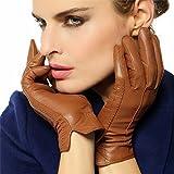 WARMEN Classic Women's Geniune Leather Winter Warm Gloves Simple Sytle (XL, Tan)