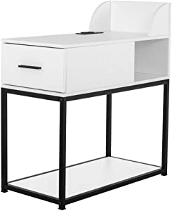YOURLITE Nightstand with Power Outlet 2-Tier Narrow Nightstand Metal Frame Modern Sofa Side Table with 2 USB Charging Port for Small Space Living Room Bedroom Furniture (White+Black)