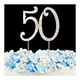Cake Topper - Golden Anniversary or Birthday Number Cake Topper Party Crystal Rhinestone Decoration Gold 50