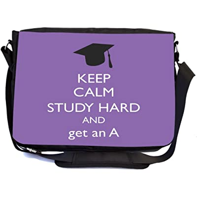 Rikki Knight Keep Calm Study Hard and Get an A Violet Color Design Multifunctional Messenger Bag - School Bag - Laptop Bag - with padded insert for School or Work - Includes Matching Compact Mirror