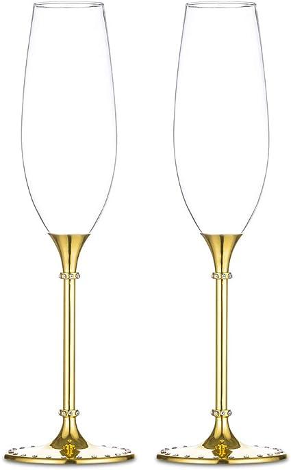 Coupe de champagne de mariage Ensemble de coupe de vin Ensemble de deux gobelets de mariage