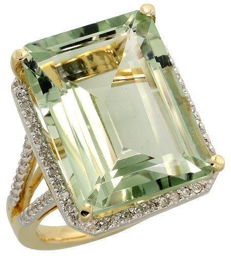 14k Gold Large Stone Ring, w/ 0.30 Carat Brilliant Cut Di...