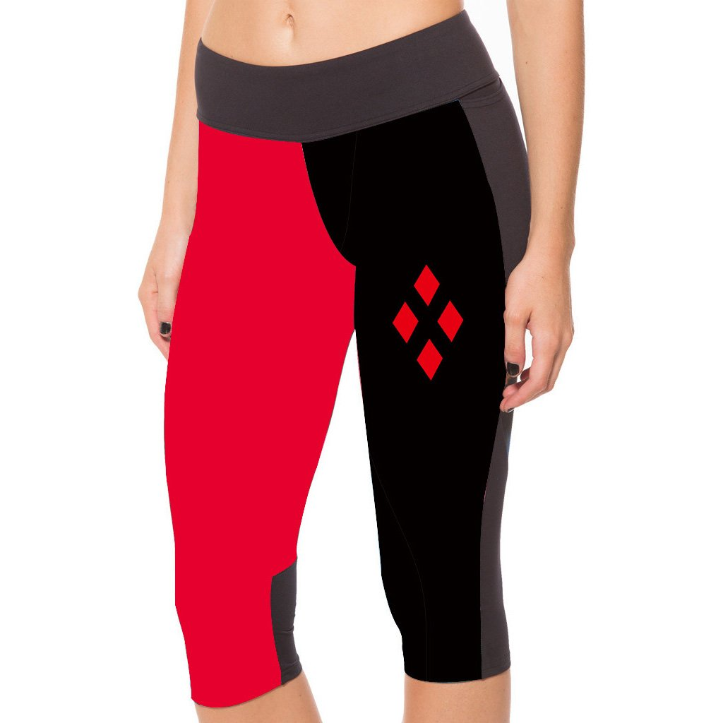 Lady Queen Women's Harley Quinn Knee Length Sports Capri Pants Tight Running Shorts