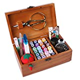 Arts & Crafts : Wooden Sewing Basket/Sewing Box with Sewing Kit Accessories