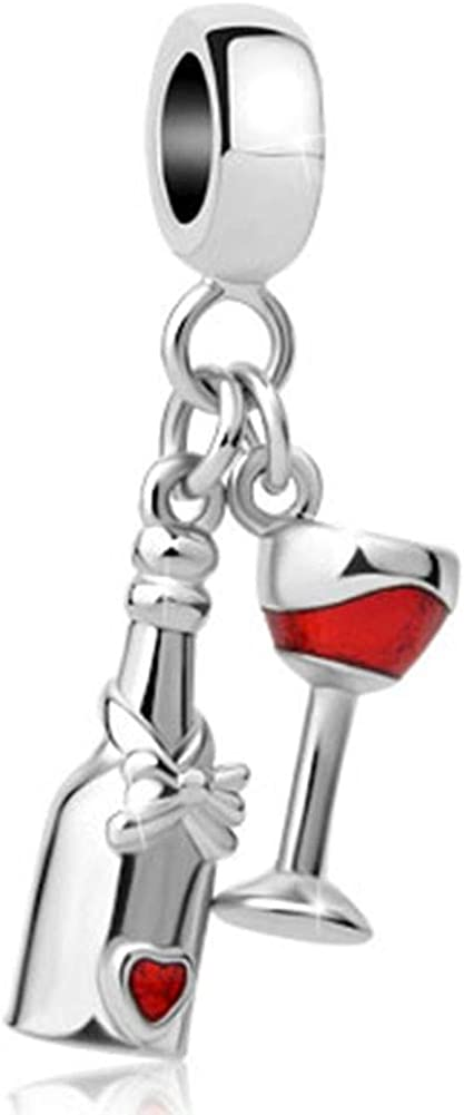 JewelryHouse Red Wine Glass Bottle Heart Dangle Charms fit Bracelets