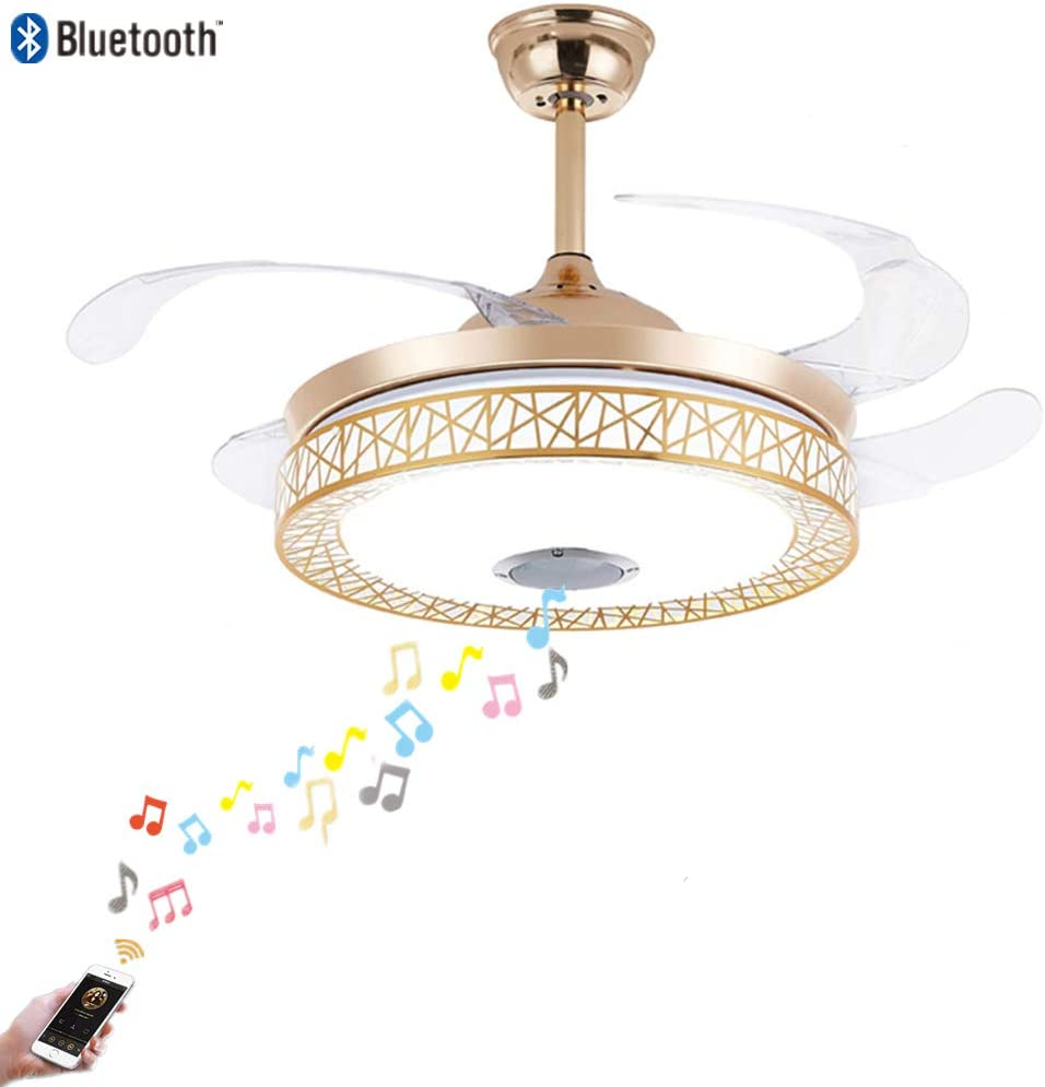 Fandian 42in Modern Smart Ceiling Fan with Lights Bluetooth Speaker Chandelier Lighting Fixtures, Remote Control, Retractable Blades, 3 Light Colors, for Living room, Bedroom 42in-Gold nest