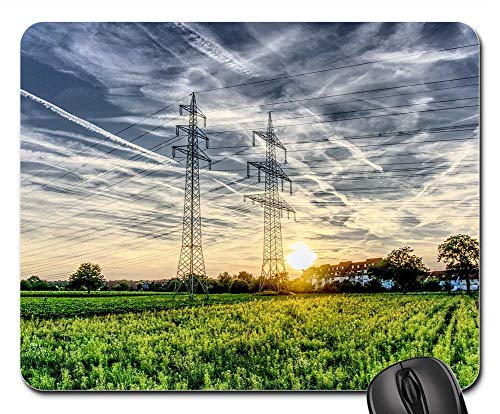 Mouse Pads - Sunset Strommast Current Power Cable Catenary 1