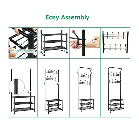 TomCare Coat Rack with 3-Tier Shoe Rack Hall Tree Entryway Bench Organizer 18 Hooks Coat Hanger Hat Racks Heavy Duty with Shoe Storage Shelves Metal Black for Doorway Hallway - Metal Multifunctional: Combined with coat rack, shoe rack and hanging rod, it is a multipurpose rack that will meet your multiple storage needs. The best storage solution for hallway, entryway, doorway and bedroom. We have extra anti-toppling straps to enhance the stability of the coat rack. Space Saving: This rack is equipped with 18 hooks in 4 levels and 3-tier shoe shelves. You can hang your jackets, backpacks, bags, hats, umbrellas, scarves and more; Also you can store your shoes, storage boxes or handbags. - hall-trees, entryway-furniture-decor, entryway-laundry-room - 51oBY8967aL. SS570  -