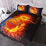 BlessLiving Basketball Bedding for Boys or Girls, 3D Shooting a Basketball, Red Flames and Blue Water, 3 Piece Sports Duvet Cover (Queen)