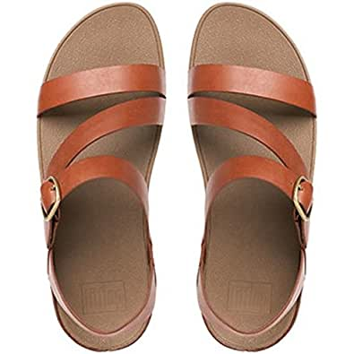 FitFlop Womens The Skinny Z-Strap Leather Sandals All, Dark Tan, 10 US