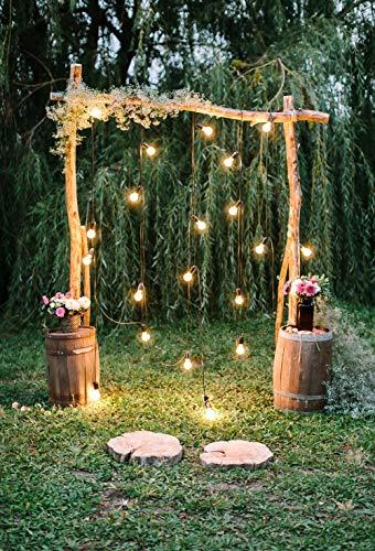 Arco de boda decorado en estilo rústico de 5 x 7 pies, diseño de flores, para compromiso, ceremonia de amor, pictórico,...