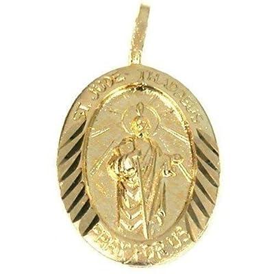 14K Gold Charm Saint Jude Thaddeus Pendant Jewelry 20mm