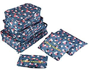Go2buy 6pcs Travel Luggage Organizer Set Backpack Storage Pouches Suitcase Packing Bags (Blue Flower)