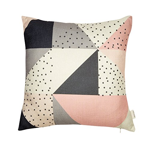 Fjfz Cotton Linen Home Decorative Throw Pillow Case Cushion Cover for Sofa Couch Modern Geometric Pattern Color Block, Blush Pink Gray Black, 18