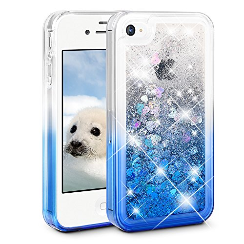 e 4S Case, Ruky [Gradient Quicksand Series] Glitter Flowing Liquid Floating Protective Shockproof Clear TPU Girls Case for iPhone 4/4S - (Gradient Blue) ()