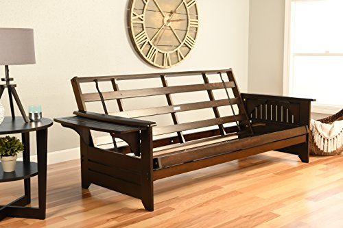 Phoenix Futon Sofa Frame in Espresso - Futon Wood Arm