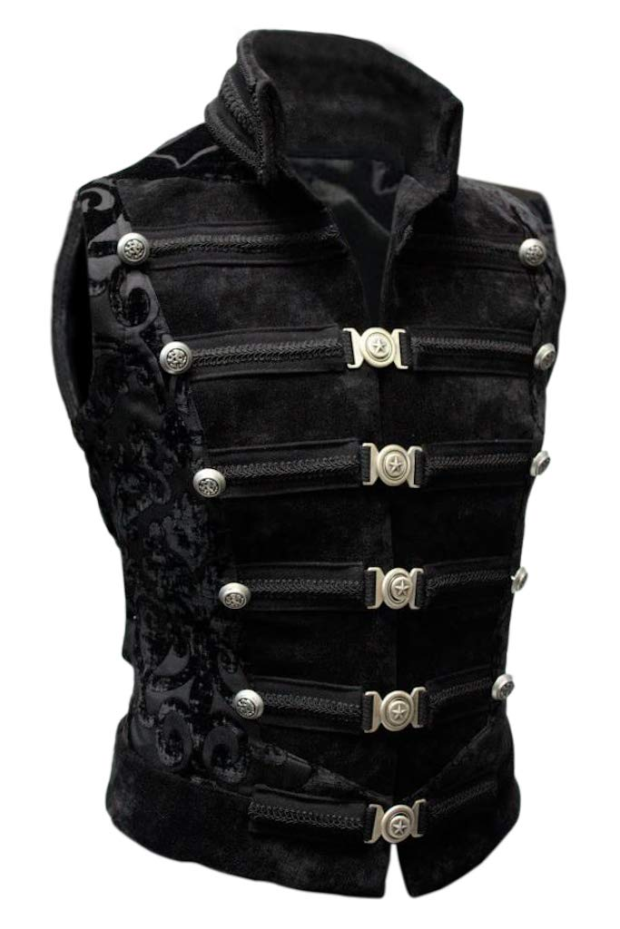 Shrine Men's Victorian Gothic Steampunk Dominion Vest Black Velvet (Large) by Shrine Of Hollywood