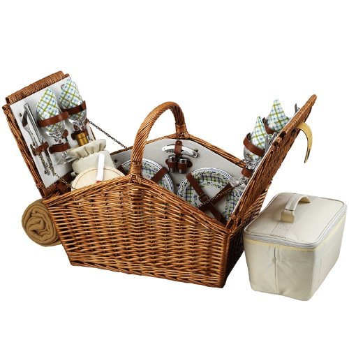 Picnic at Ascot Huntsman English-Style Willow Picnic Basket with Service for 4 and Blanket - Gazebo by Picnic at Ascot