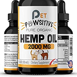 Pet Pawsitive - Hemp Oil Dogs Cats - 2000mg - Separation Anxiety, Joint Pain, Stress Relief, Arthritis, Seizures, Chronic Pains, Anti-Inflammatory - Omega 3, 6 & 9 - 100% Organic - Calming Drops