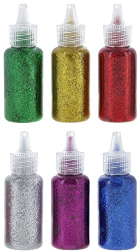 Emraw 20 ml Glitter Glue In Bright Classic Colors: Gold, Silver, Red, Green, Blue & Purple Used for Gluing, Drawing, Writing, Outlining (6 Pack)