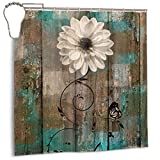 Amonee-YL Rustic Floral Butterfly White Flower Teal Brown Vintage Polyester Fabric Shower Curtain Sets with 12 Hooks,Modern Bathroom Home Decor
