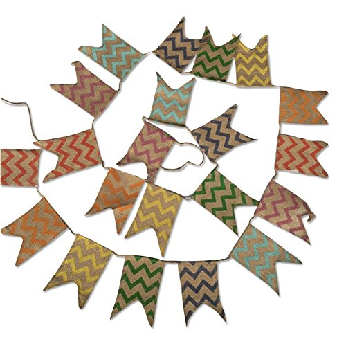 Natural Burlap Bunting Flag, 3.7M Party Supplies Decoration with 21 PCS Linen Banners, Vintage Cloth Shabby Chic Decoration for Celebration Party; Rustic -