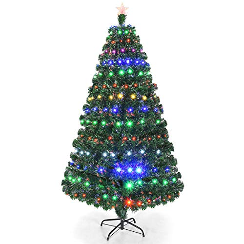 Goplus Artificial Christmas Tree Pre-Lit Optical Fiber Tree 8 Flash Modes W/UL Certified Multicolored LED Lights & Metal Stand (7 FT) (Fiber Ft Optic 7 Tree)