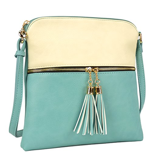 Lightweight Women Crossbody Bags,Travel Shoulder Messenger Purse Medium Size Clutch Multi Zipper Designer Satchel for All Seasons (MKP-LP062-BG+TQ) by Maya Karis Purse
