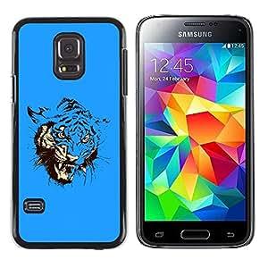 Caucho caso de Shell duro de la cubierta de accesorios de protección BY RAYDREAMMM - Samsung Galaxy S5 Mini, SM-G800, NOT S5 REGULAR! - Blue Fierce Tiger Attack
