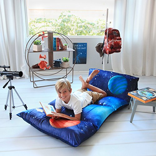 Kid's Floor Pillow Bed Cover - Use as Nap Mat, Portable Toddler Bed or inflatable air mattress alternative for Sleepovers, Travel, Napping, or as a Lounger for Reading, Playing. Cover Only! (Size Storage Bed Lift Full)