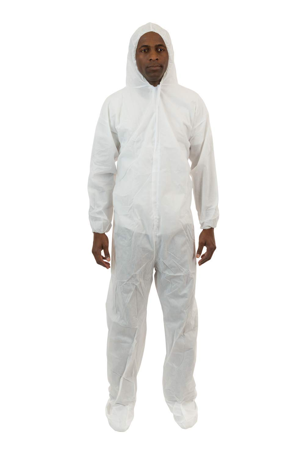 International Enviroguard - Standard Weight 3 Layer SMS General Protective Coverall for General Cleanup (White) (25 per case) (5XL, Elastic Wrist, Hood & Boots)