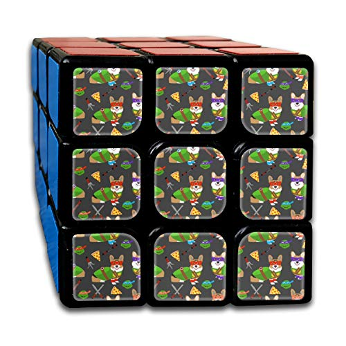Small - Teenage Mutant Corgis - Cute Dogs in Costumes, Cosplay, Comics, Comic-con, Halloween, Dog, Dogs, Customized Speed Cube 3x3 Smooth Magic Cube Puzzle Game Brain Training Game for Adults Kids