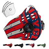 Axsyon Dust Mask, Sports & Lifestyle Face Mask- USA colors- with 3 Filters & 2 Valves included. Suitable for Woodworking, Outdoor Activities, Sports- Snowboard, Skiing, Running, Cycling