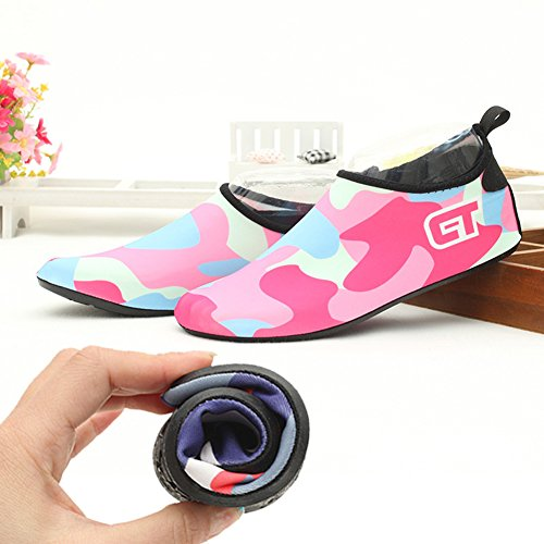 Pliables Rose Chaussures Aquatique Surf Fashion de Piscine Gymnase Sport pour Yoga Chaussettes Natation Chaussures Unisexe Enfant Plage Plongée BoodTag de xqwvYHIW